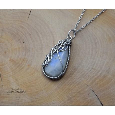 Wisiorek Kamień Księżycowy, wire wrapping