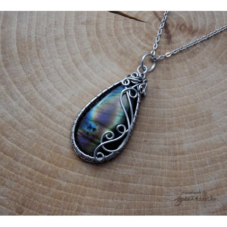 Wisiorek Labradoryt , wire wrapping, stal chirurgiczna