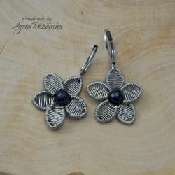 Kolczyki kwiaty z naturalnymi szafirami, wire wrapping