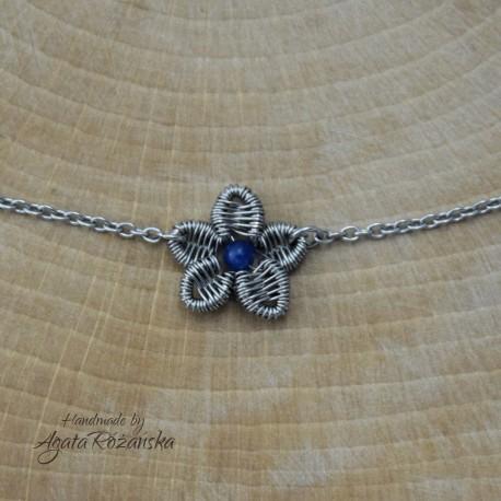 Naszyjnik kwiatek niebieski agat brazylijski, apatyt, wire wrapping,