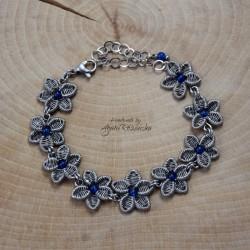 Bransoletka kwiatki z niebieskimi agatami brazylijskimi, wire wrapping