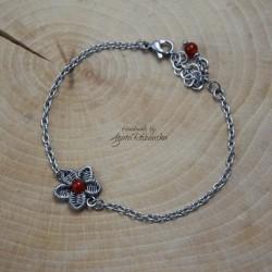 Bransoletka kwiatek z karneolem, wire wrapping