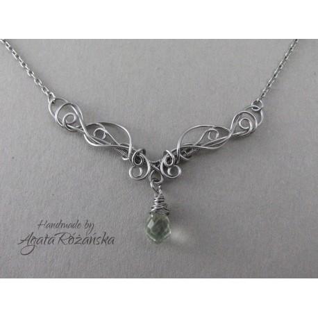 Naszyjnik z Ametystem zielonym, wire wrapping