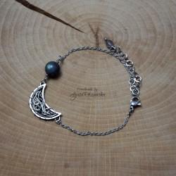 Bransoletka księżyc z labradorytem, wire wrapping