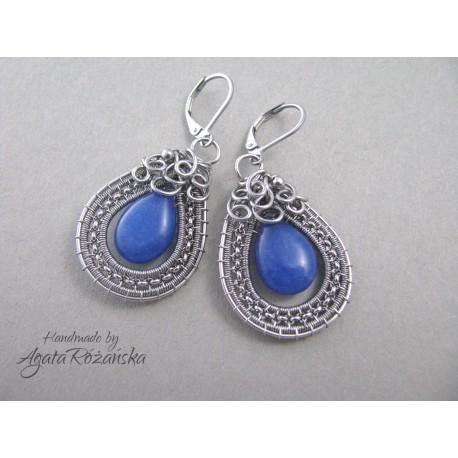 Kolczyki z niebieskim Jadeitem, wire wrapping