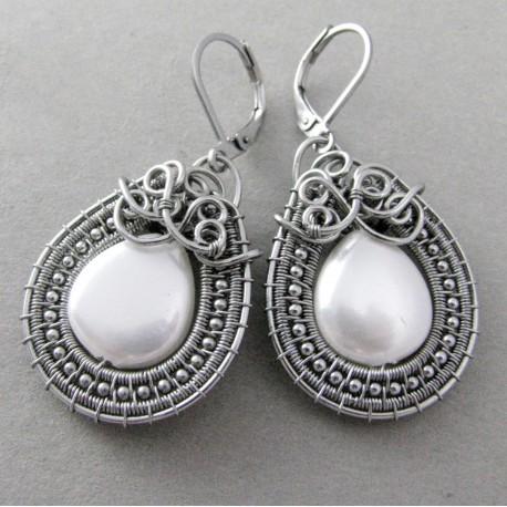 Kolczyki z perłami Seashell, wire wrapping