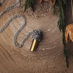 Wisiorek talizman miedziany złoty kwarc aura tytanowa
