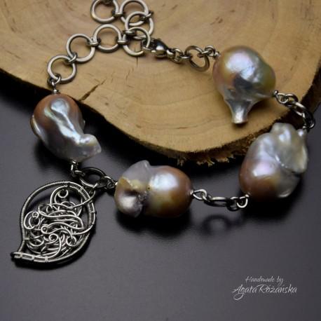 Bransoletka z perłami barokowymi, perły, stal chirurgiczna