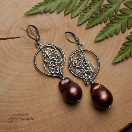Kolczyki z perłami barokowymi, perły, stal chirurgiczna