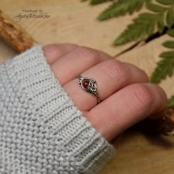 Mini pierścionek regulowany z karneolem