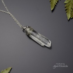 Wisiorek talizman długi, surowy kryształ górski