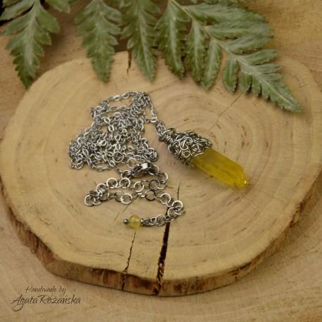Wisiorek talizman żółty kryształ górski barwiony