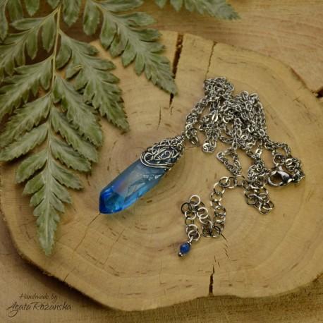 Wisiorek talizman niebieski kryształ Aqua Aura
