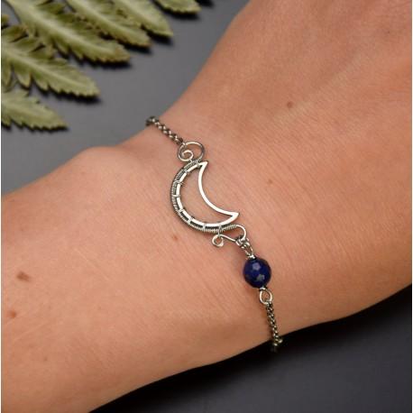 Bransoletka księżyc lapis lazuli, stal chirurgiczna