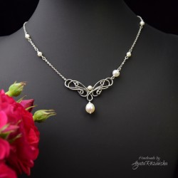 Naszyjnik z perłami ze stali chirurgicznej, wire wrapping