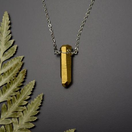 Naszyjnik minimalistyczny talizman miedziany złoty kwarc aura tytanowa