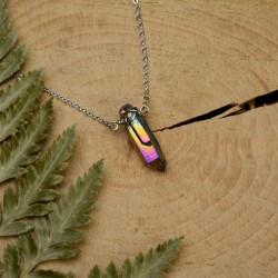Naszyjnik talizman minimalistyczny tęczowy kwarc aura