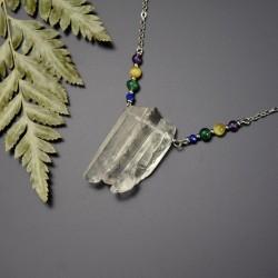 Naszyjnik z trzema soplami polerowanych kryształów górskich, ametyst, lapis lazuli, tygrysie oko, awenturyn
