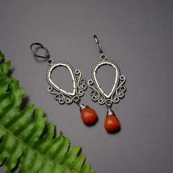 Kolczyki z czerwonym Jadeitem, wire wrapping