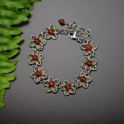 Bransoletka kwiatki z karneolem, wire wrapping