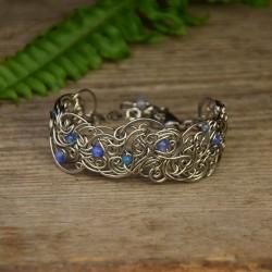 Bransoleta szeroka z niebieskimi agatami wire wrapping