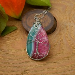 Zielono różowy agat z kryształem, drzewo życia, wire wrapping
