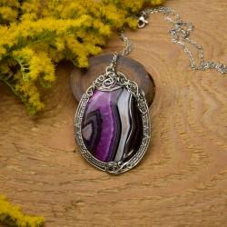 Wisiorek agat z fioletowym kryształem wire wrapping