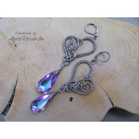 Kolczyki serca Swarovski Crystal Vitrail Light