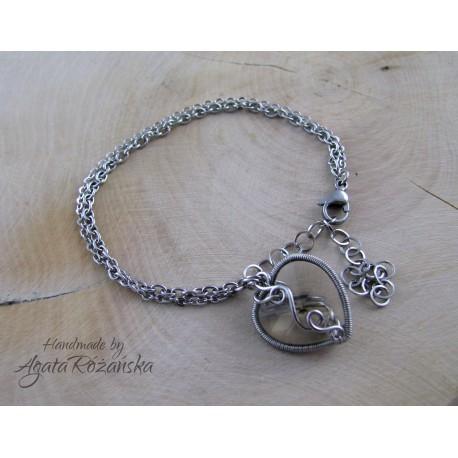 Bransoletka serce kryształek, wire wrapping